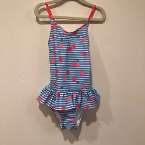 NWT H&M Girl's Cherry Print Swimsuit, Size 6-8